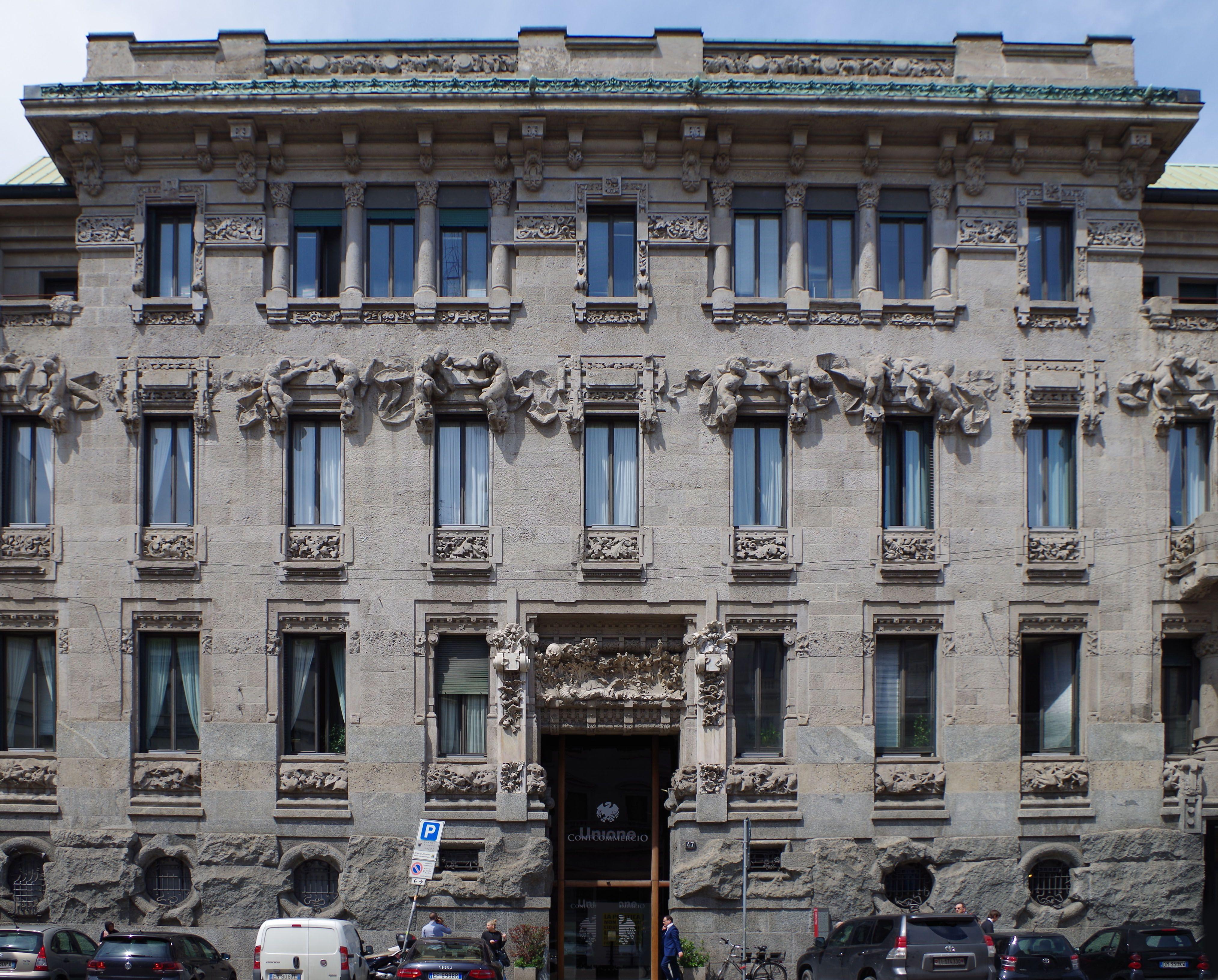 Giuseppe Sommaruga Palazzo Castiglioni in Milán 1903 Stile Floreale Architettura Italiana