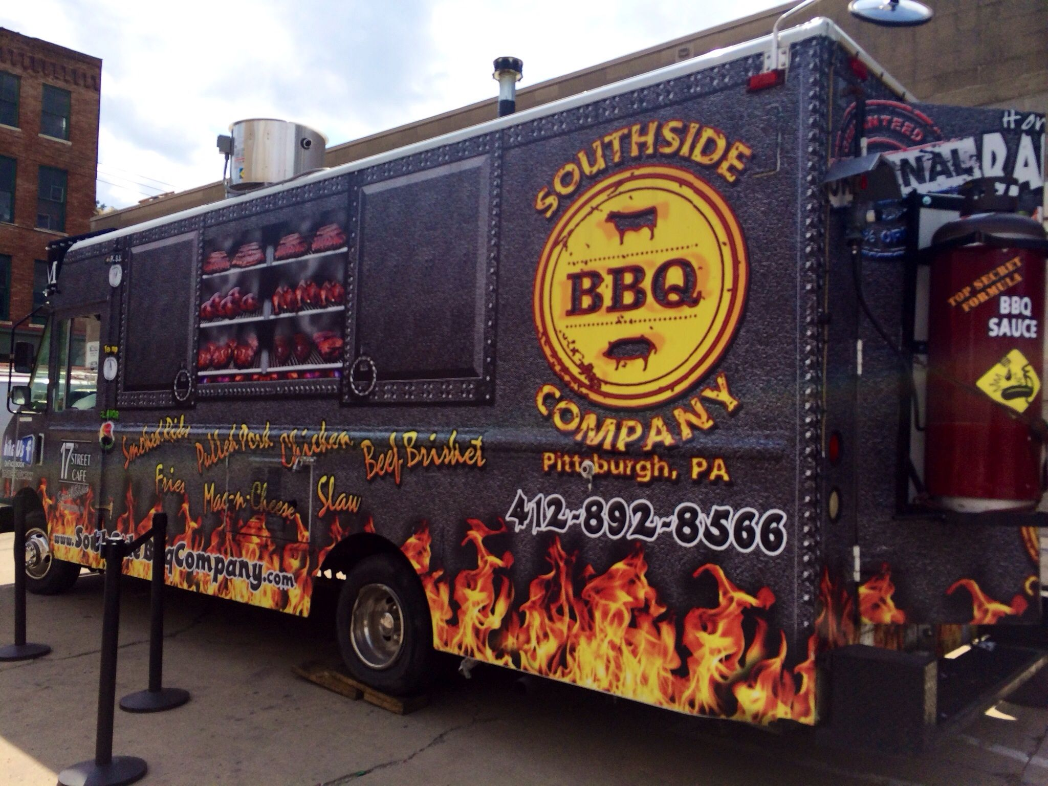 Flaming Bbq Van Food Vans Pittsburgh Food Food Truck Bbq