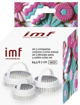SET 3 CORTAPASTAS ACERO INOXIDABLE, Ø4,5-6-7cm,   IMF Fabricante de menaje de cocina