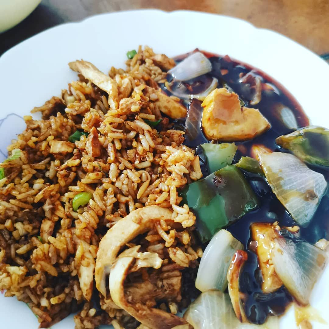 Kar Woo Halal Takeaway Stepney Green Special Fried Rice With Chicken And Black Bean Sauce Curry With C Chicken Chow Mein Black Bean Sauce Special Fried Rice