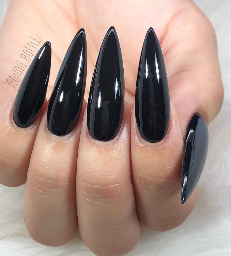 30 Incredible Acrylic Black Nail Art Designs Ideas For Long Nails Page 10 Of 30 Latest Fashion Trends For Woman Black Nails Long Black Nails Black Stiletto Nails