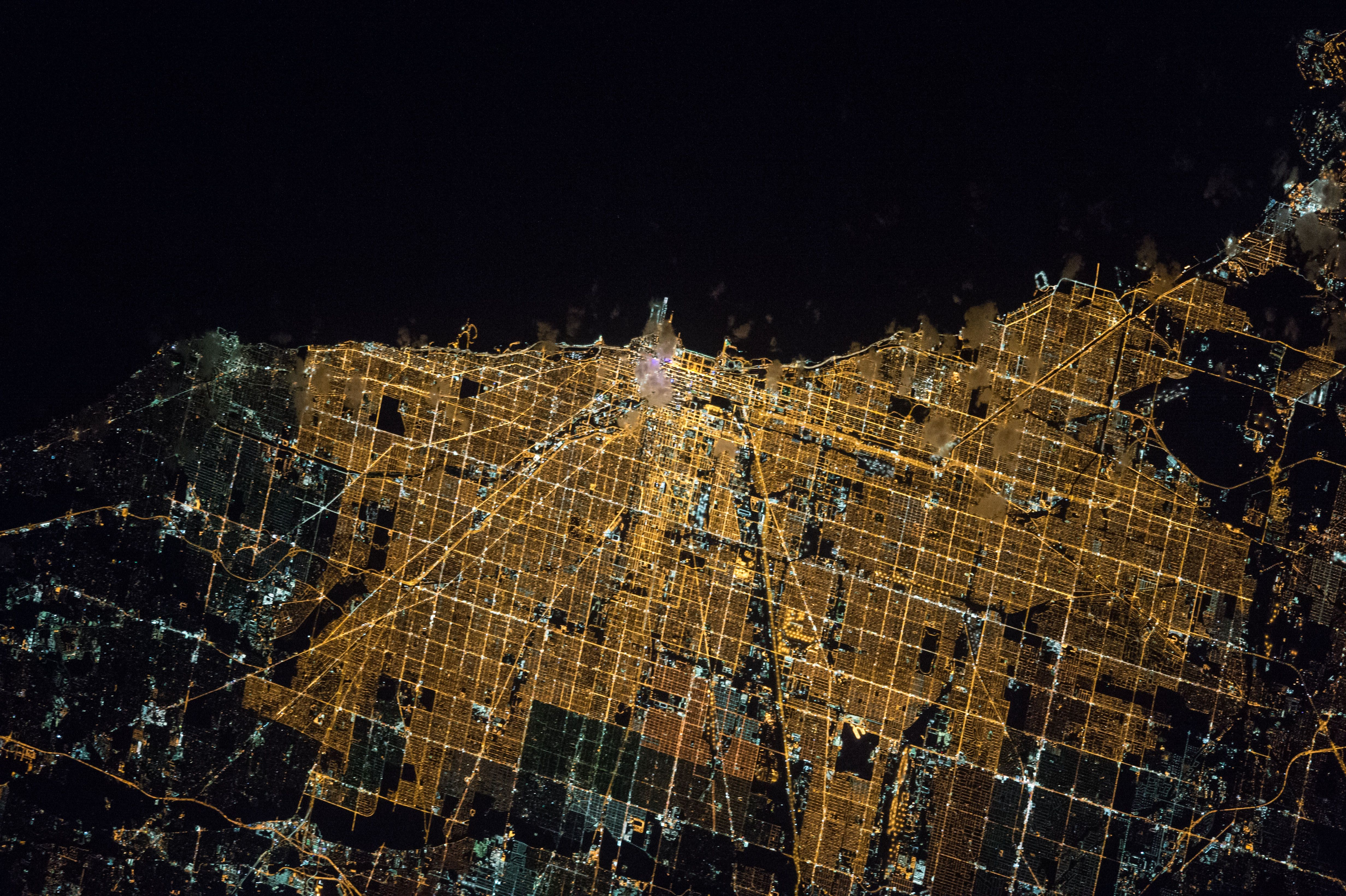 Chicago Map Grid%0A Nighttime lights of city of Chicago photographed from low Earth orbit