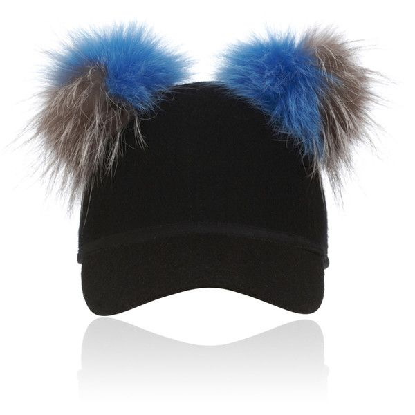 Charlotte Simone Double Pom Sass Cap (545 BRL) ❤ liked on Polyvore featuring accessories, hats, fox hat, rim caps, fox cap, fur cap and fox fur hat