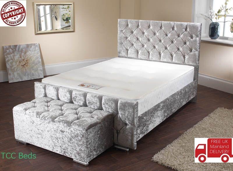 50bd4e3bcd8d Diamond Upholstered Crushed Velvet Fabric Chesterfield Storage Sleigh Bed  Frame