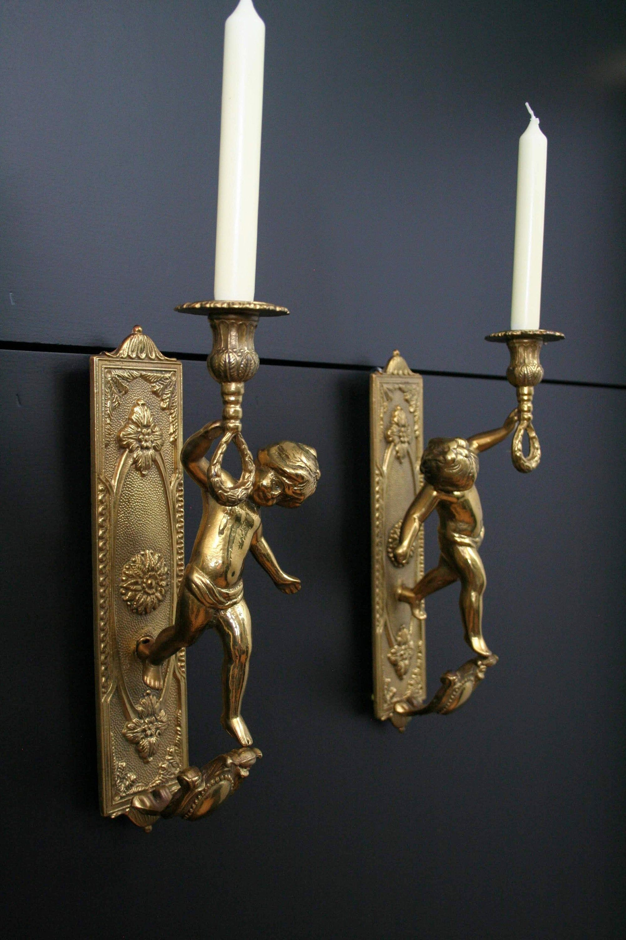 French Decor Candle Wall Sconces Cherub Brass Sconces Wall Candle Holders Unique Gift Ideas Brass Candle Holders Vintage Home Decor Sconce Wall Candle Holders Wall Candles Brass Candle Holders Vintage