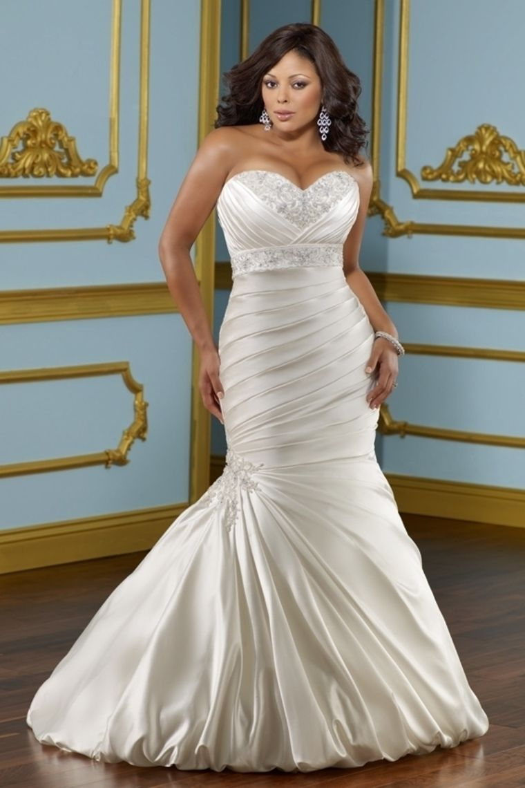 sexy mermaid/trumpet sweetheart chapel train satin lace up plus