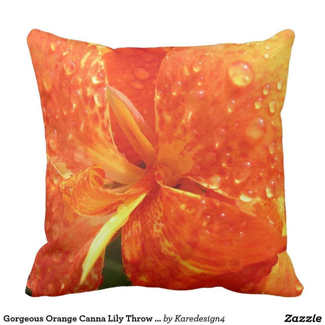 Gorgeous Orange Canna Lily Throw Pillow