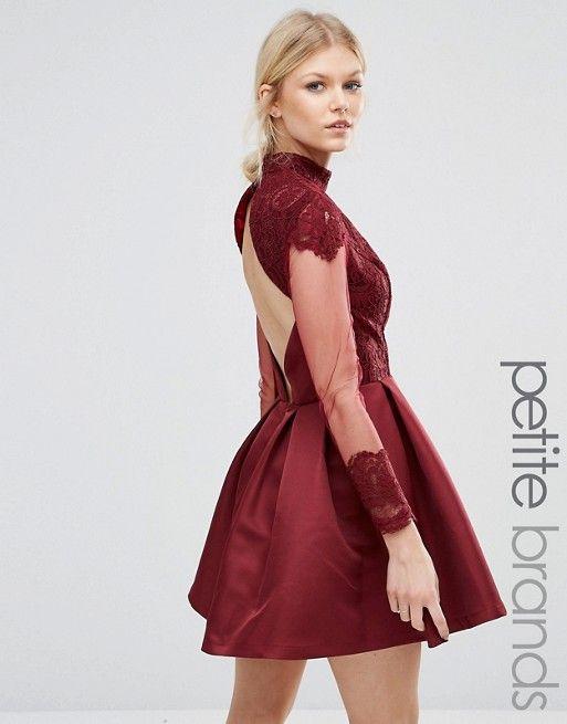 73fdb7be0be4 Chi Chi Petite | Chi Chi London Petite High Neck Sateen Mini Dress With Open  Back