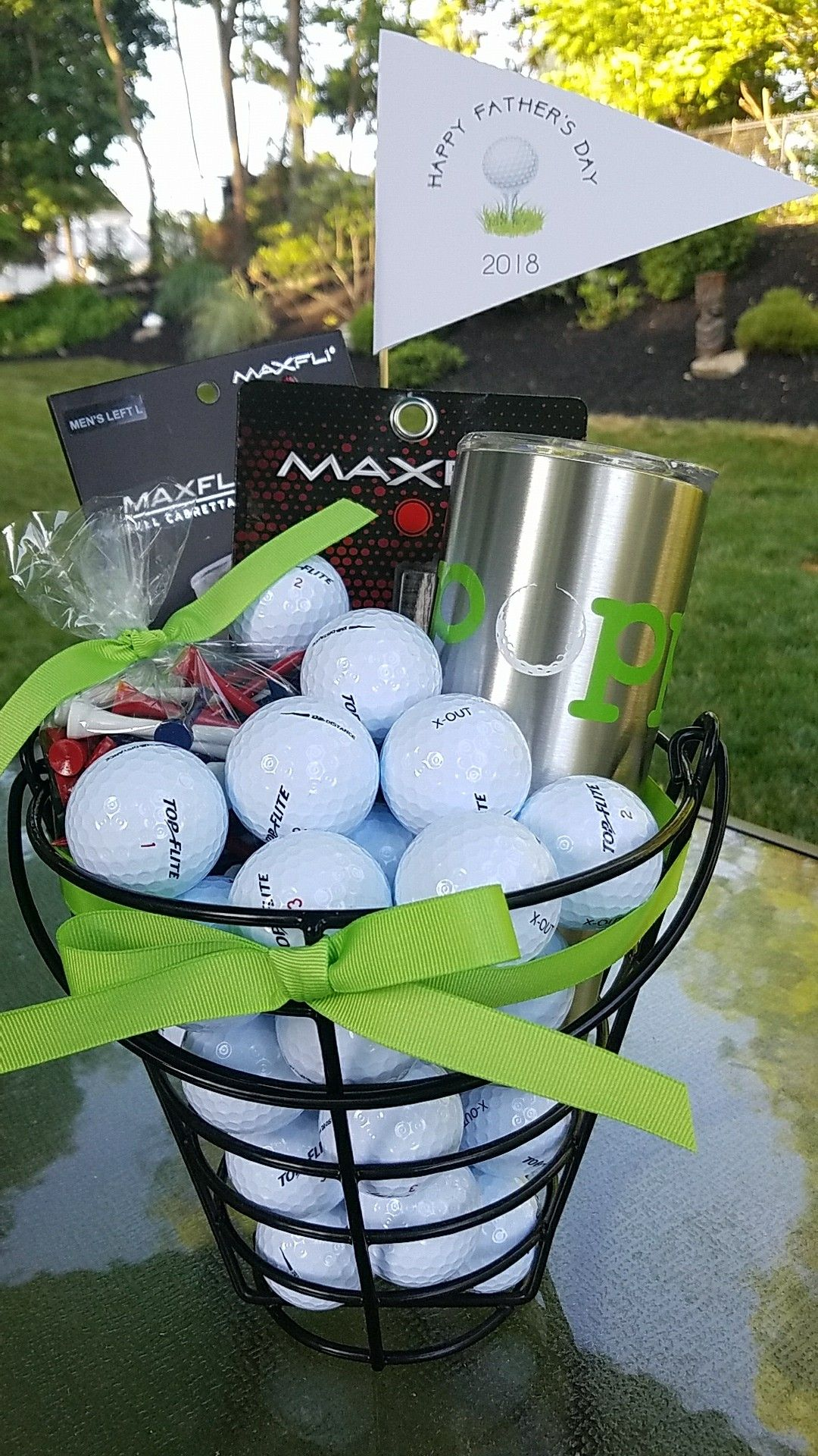 Fathers day golf gift basket for grandpa complete with