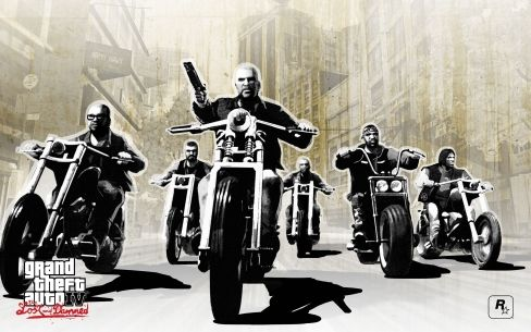 Simple black and white art showing the dramaticness  of GTA. All of the bike riders have a serious expression, all but one riding there bikes with both hands. The one in center frame is holding a shot gun, indicating he is possibly the leader of the group. The background is lightly faded with only a certain amount of color, very dark.