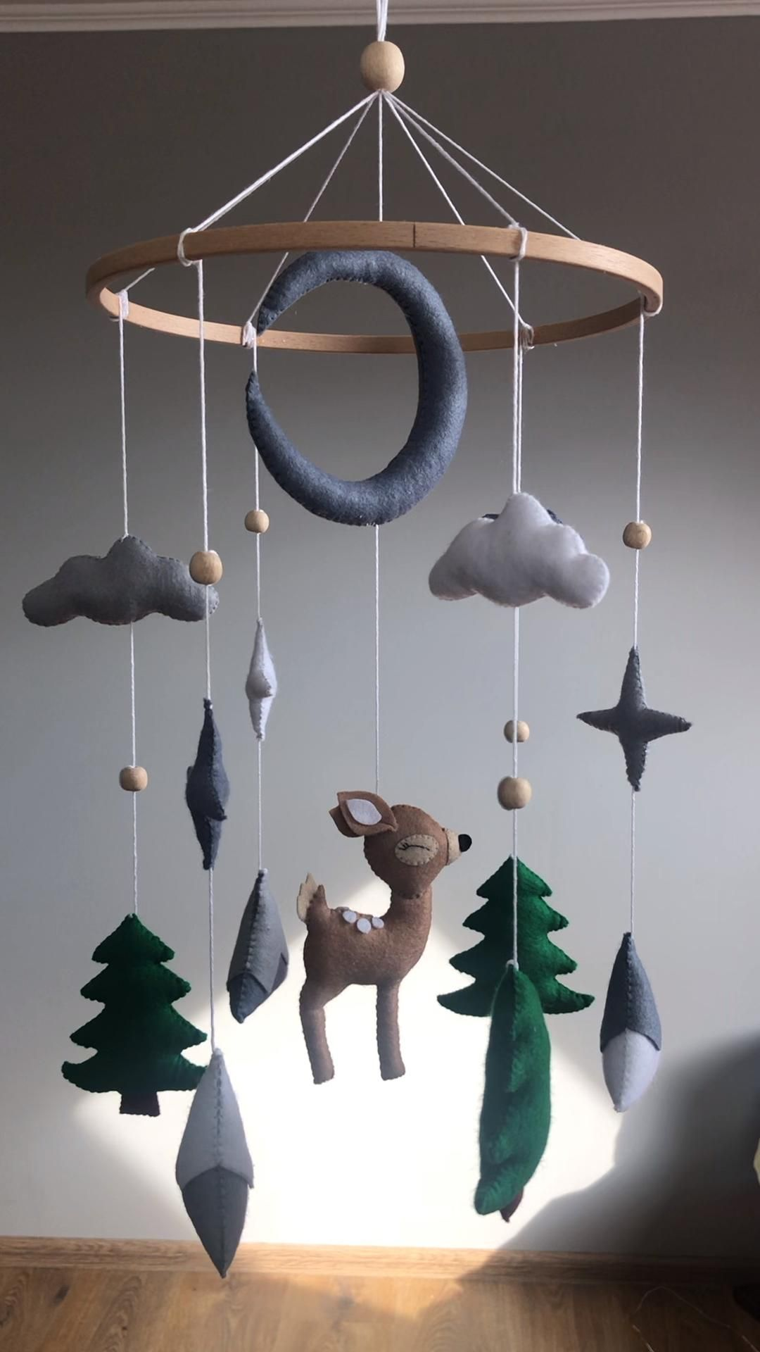 Photo of Deer baby mobile, baby nursery room decor, Forest mobile, Mountains baby mobile woodland