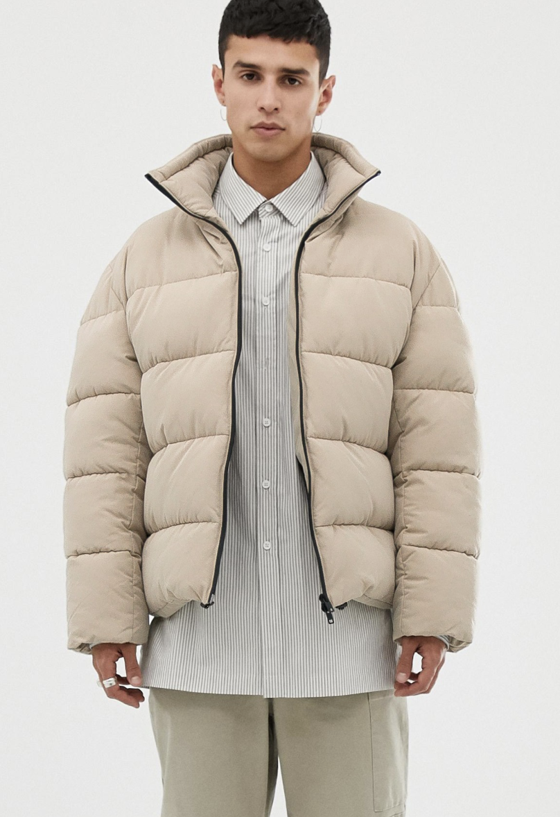 Asos White Boxy Puffer Jacket In Beige Ad Menswear Casual Fashion Inspired Inspiration Outfit Look M Mens Street Style Mens Puffer Jacket Mens Fashion Summer [ 1178 x 808 Pixel ]