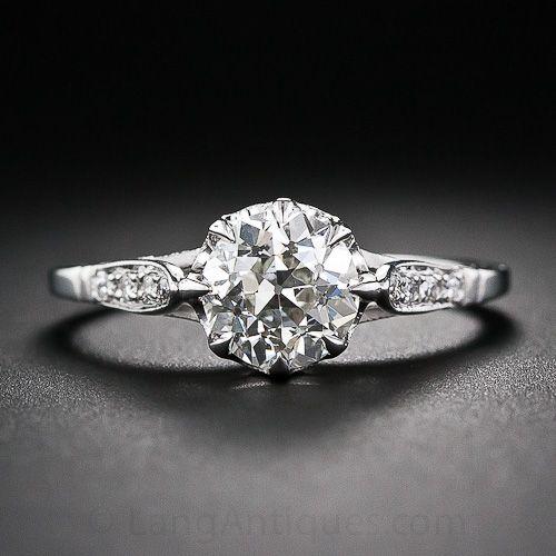 1.32 Carat European-cut Diamond Antique Style Engagement Ring - Langs