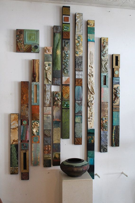 Tribal Glazed Natural Sea Shore Painted Collage Totems Large Recycled Metal-Wood Wall Vertical Sculptures Driftwood Beach House Cabin Boho