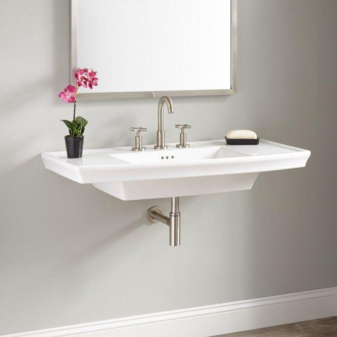 Olney Porcelain Wall Mount Sink Mounted Bathroom Sinkssmall
