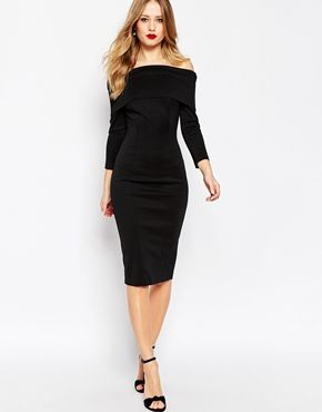 7991cafe59 ASOS Premium Scuba Deep Fold Bardot Midi Pencil Dress   My Style ...