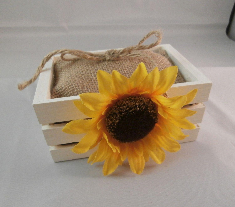 50 SunflowerInspired Wedding Ideas Ring bearer box