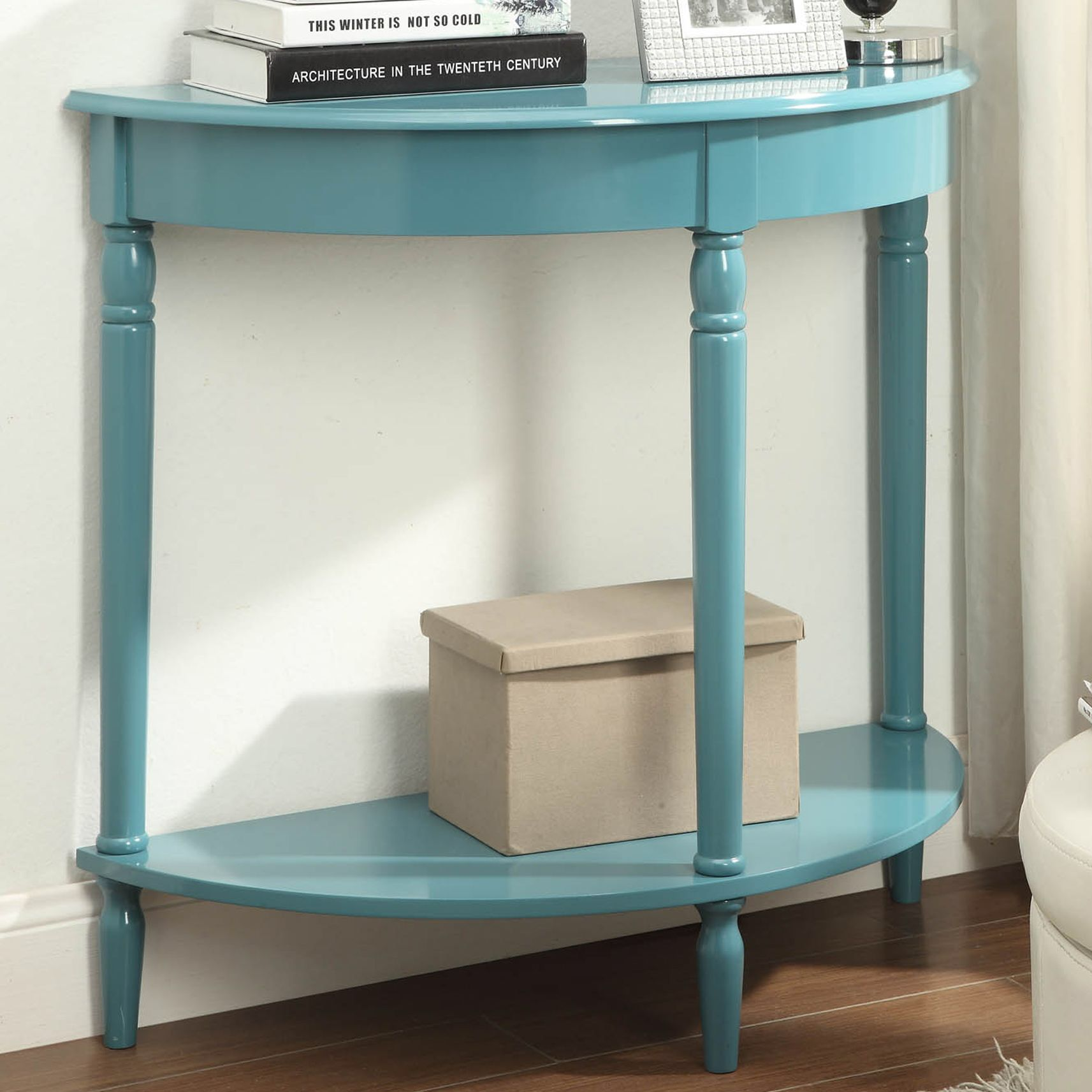French Country Half-Circle Console Table