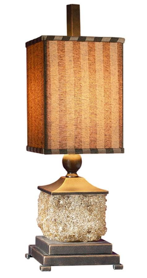 Fabulous Glass Buffet Lamp featuring amber tinted sugar-spun glass with burnished bronze metal details and gold highlights. Perfect for any table.