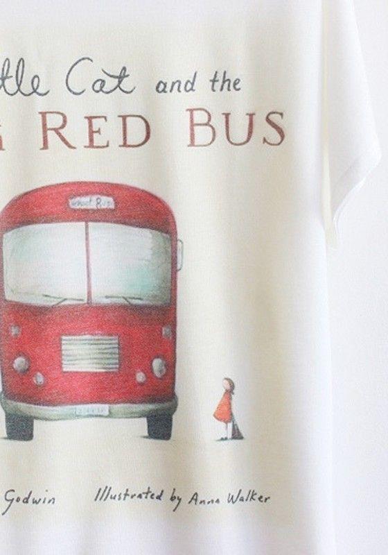 White Bus Print Bat Sleeve Loose Cotton T-Shirt - T-Shirts - Tops