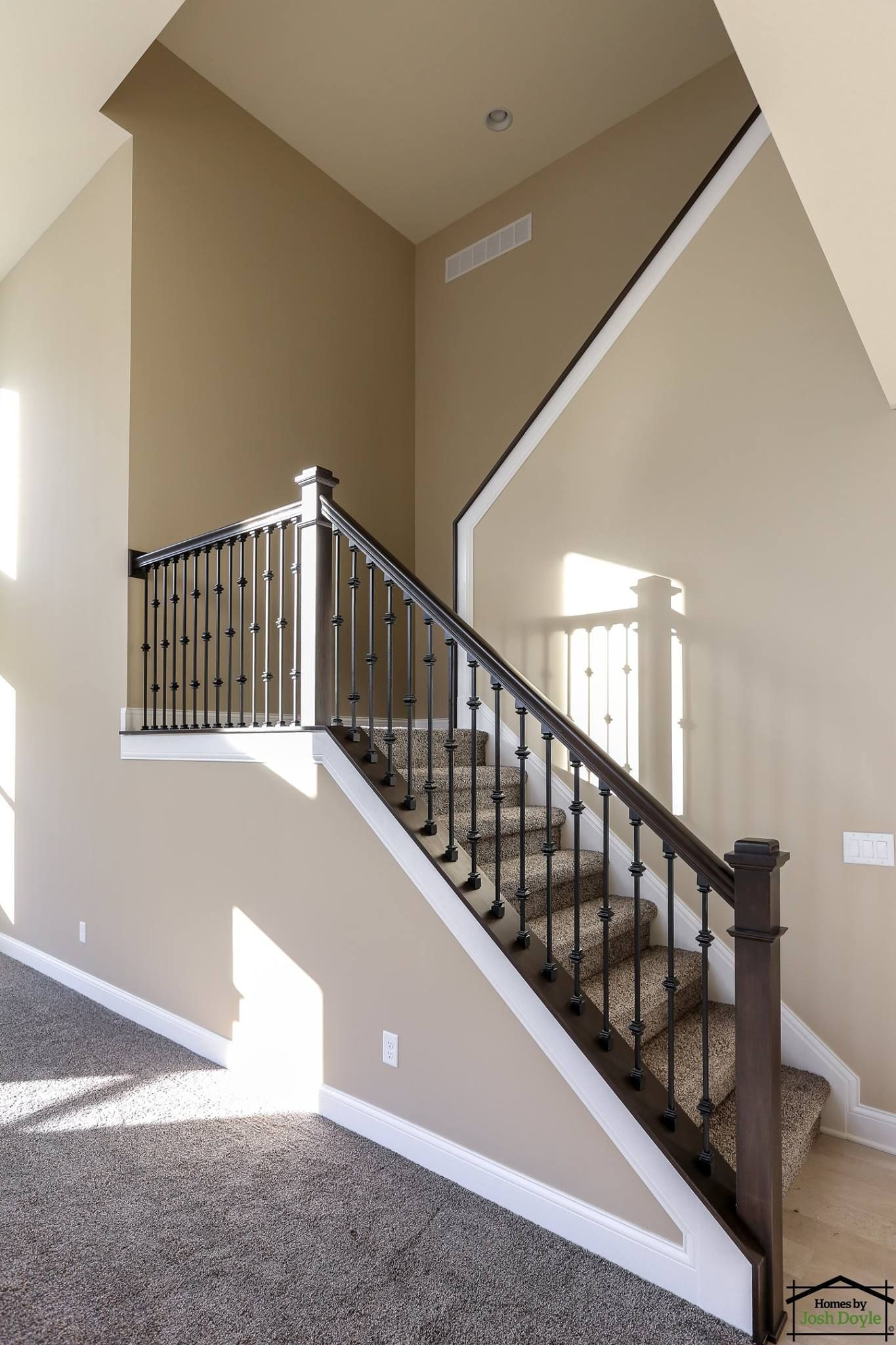 Best Custom Staircase With Stained Rails Iron Spindles And 640 x 480