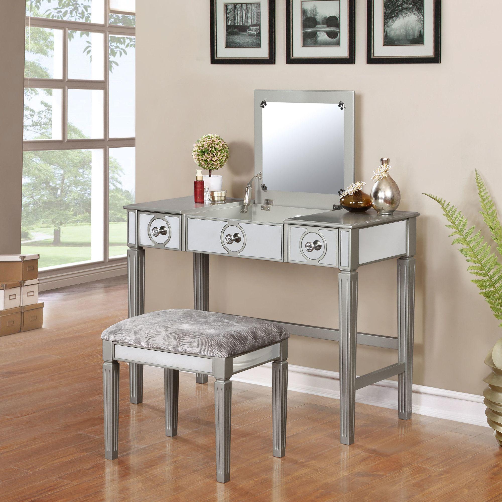 Mcclay Vanity Set With Mirror Vanity Set Vanity Set With Mirror Silver Vanity