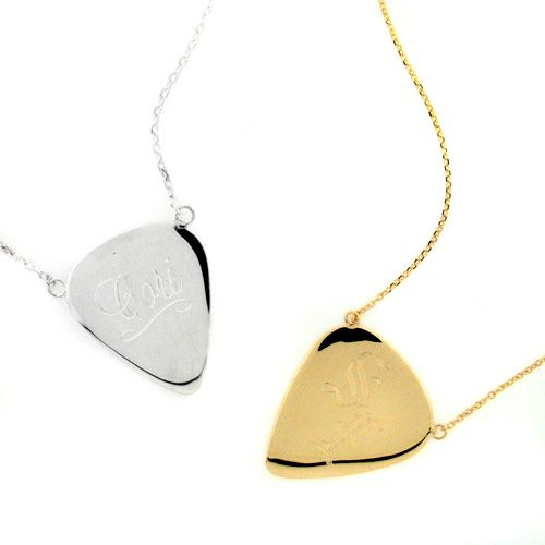 Sterling silver guitar pick necklace guitar pick necklace sterling silver 14k gold guitar pick necklaces mozeypictures Image collections