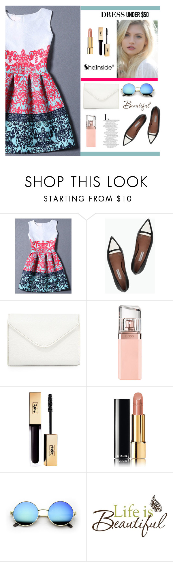 """""""Untitled #644"""" by veronica7777 ❤ liked on Polyvore featuring Rachel Comey, Neiman Marcus, HUGO, Chanel, Brewster Home Fashions and Dressunder50"""