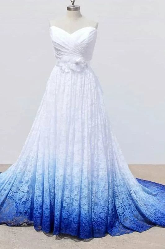 Photo of White and Blue Sweetheart Lace Wedding Dress, Ombre Wedding …