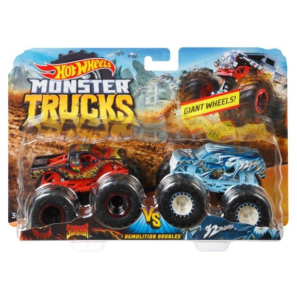Hot Wheels Monster Trucks Demo Doubles 2 Pack Styles May Vary Walmart Com In 2021 Monster Trucks Hot Wheels Monster