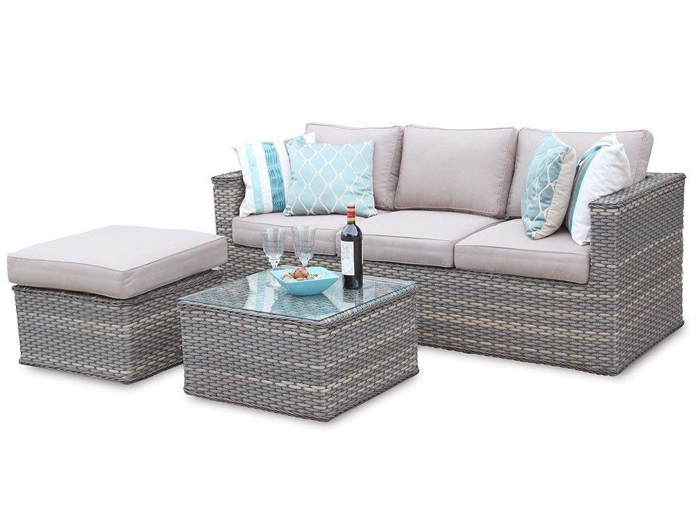 Bahamas 3 Seater Rattan Modular Corner Sofa Set - Natural | chat set ...