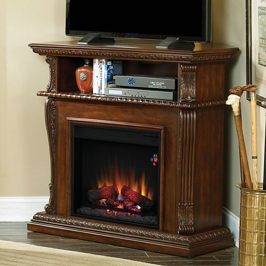 corinth wall or corner electric fireplace media center in burnished walnut