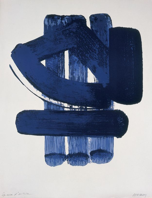 Lithographie n 37 1974 pierre soulages abstract non for Affiche pierre soulages