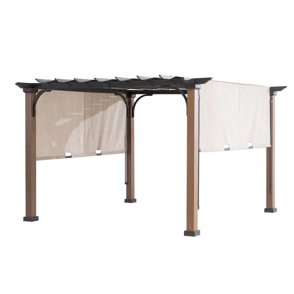 Sunjoy 9 Ft X 9 Ft Square Steel Mason Pergola With Adjustable Beige Cover 110105005 The Home Depot Metal Pergola Aluminum Pergola Wood Pergola