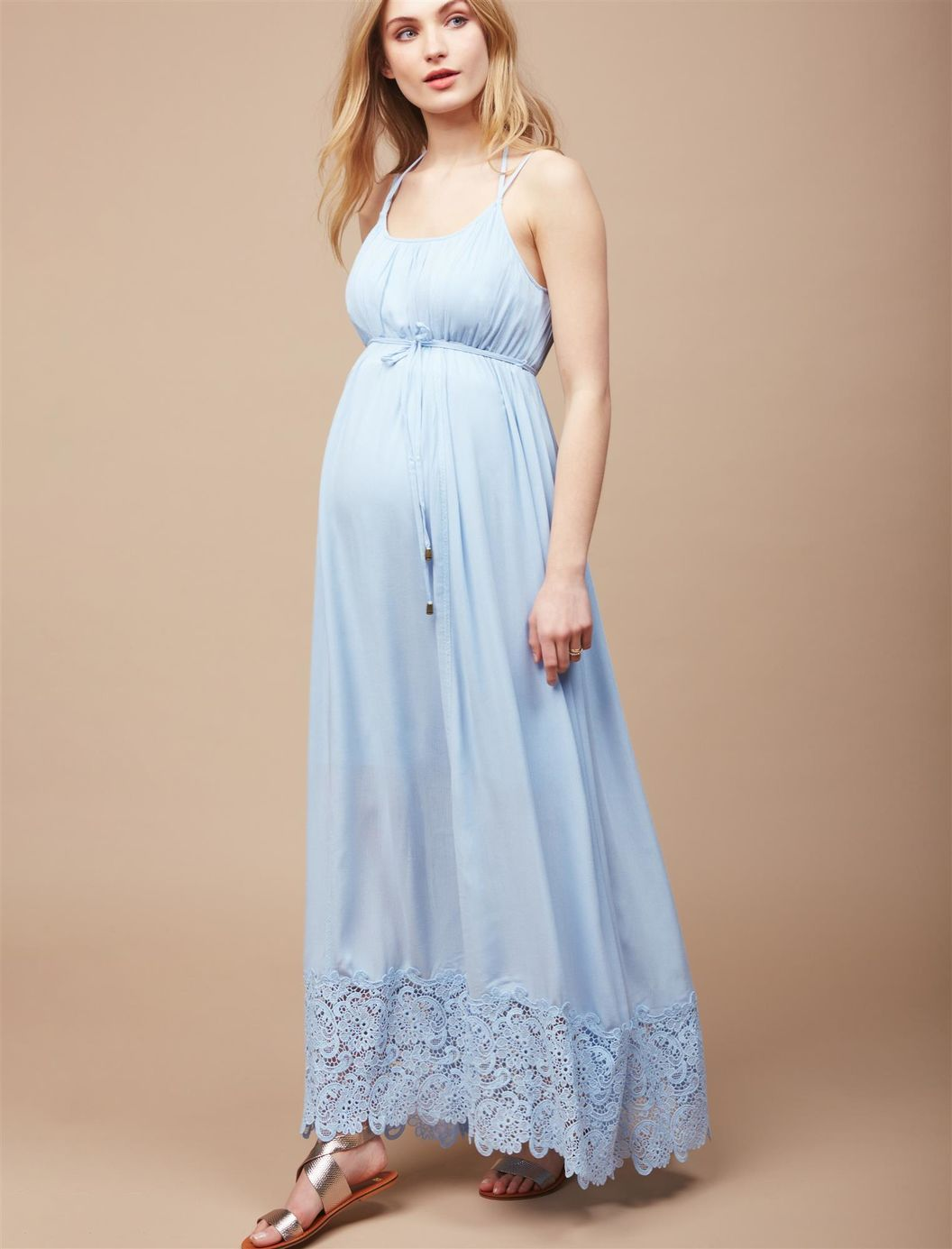 ab53fc73c2d8f0 Lace Hem Maternity Maxi Dress | Motherhood Maternity | - MATERNITY ...