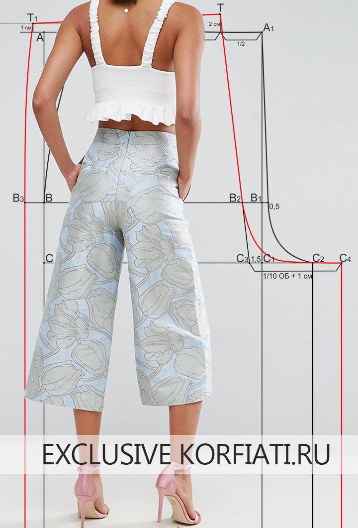 Выкройка брюк-кюлоты   Patrones   Pinterest   Patrones, Costura y ...