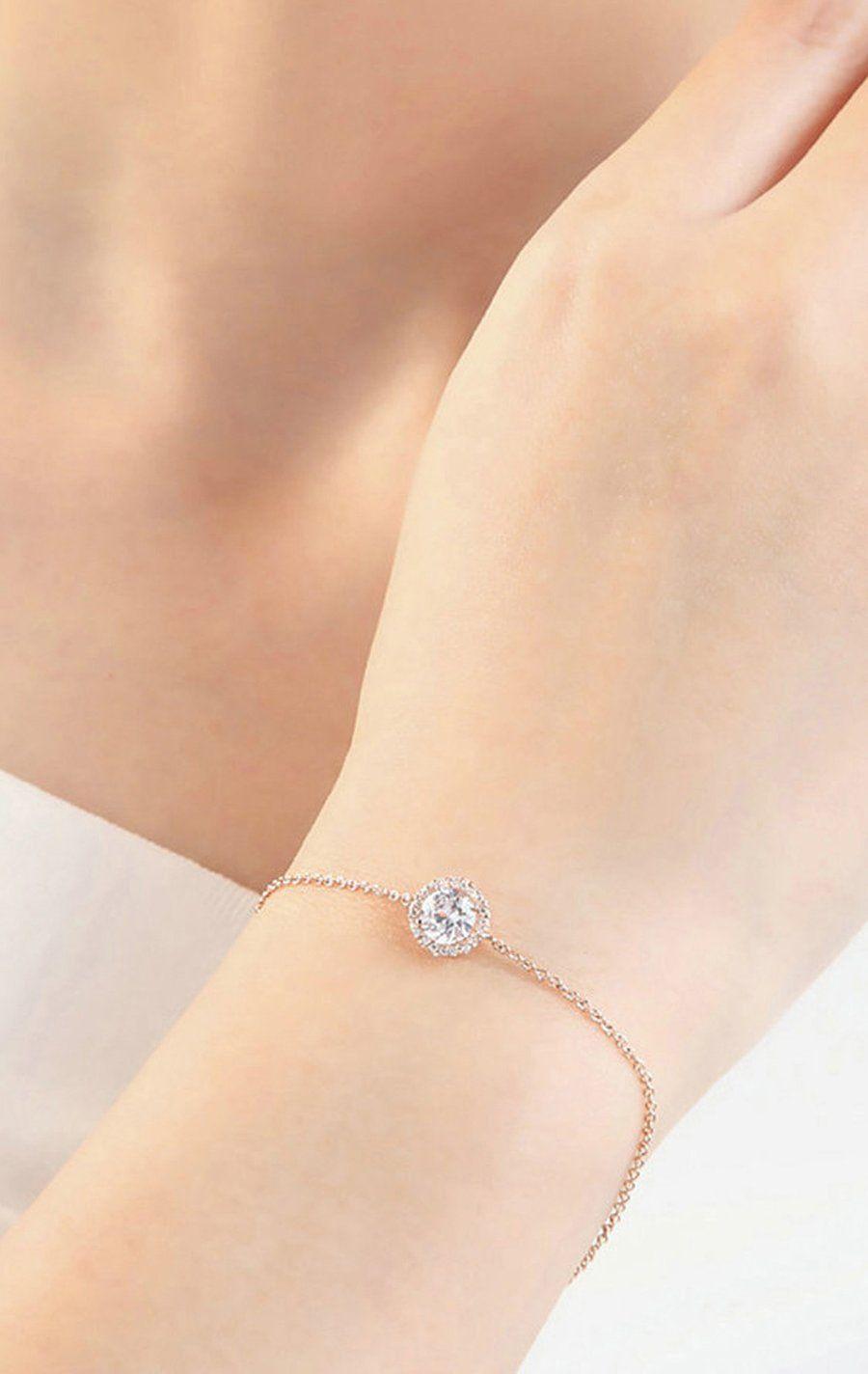 Jessica simple dainty halo crystal chain bracelet