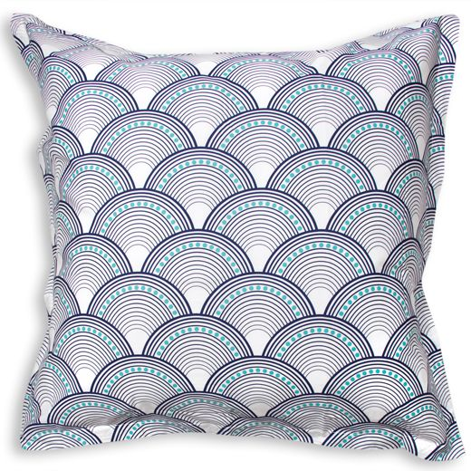 Jonathan Adler Navy And Turquoise Fish Scale Euro Shams in New Bedding & Bath
