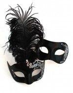 His & Hers Black Venetian Swirl Masquerade Mask Couple's Masks