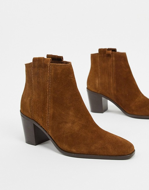 Mango suede ankle boots in tan   ASOS