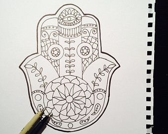 Coloring Page For Adults Printable Zendoodle Hamsa Judaica