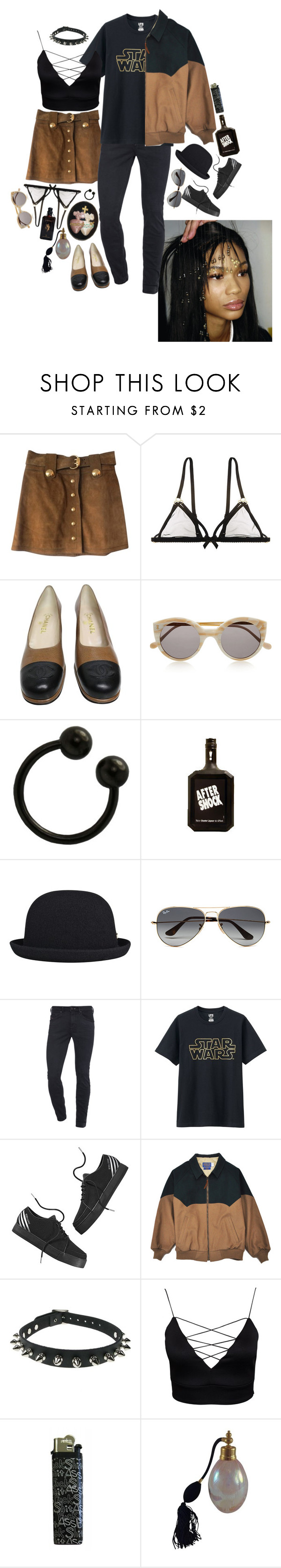 """""""Untitled #564"""" by iamcharlotte ❤ liked on Polyvore featuring Gucci, Bordelle, Chanel, Illesteva, kangol, Ray-Ban, Diesel, Uniqlo, adidas NEO and Kiki de Montparnasse"""