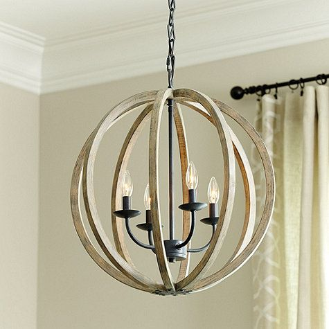 The Hudson 4 Light Pendant Features A Rustic Weathered Oak Wood In Modern Orb