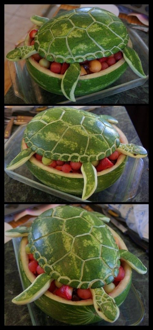 Watermelon Sea Turtle...totally doing this for summer BBQ fruit bowl