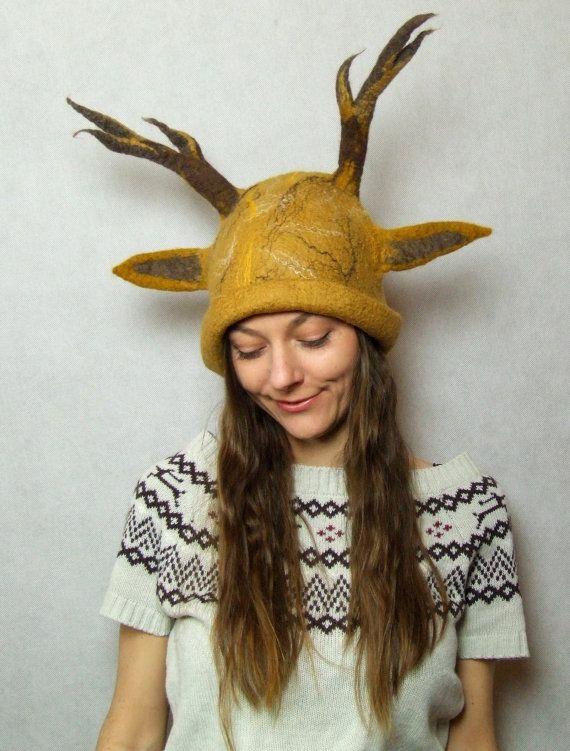 1906ab7553d2e Deer Antlers Headdress - Antler Hat - Deer Antlers Costume Hat -  Hand-felted - Brown Antlers Deer Costume Hat