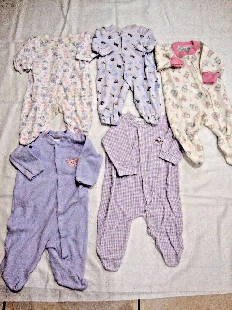 Euc 5 Pair Of Size 3 6 Mo Baby Girl Pajamas All In Excellent