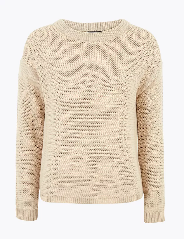 Mens M/&S Jumper V Neck Pure Cotton Knitted Long Sleeve Sweater Pullover Top Size