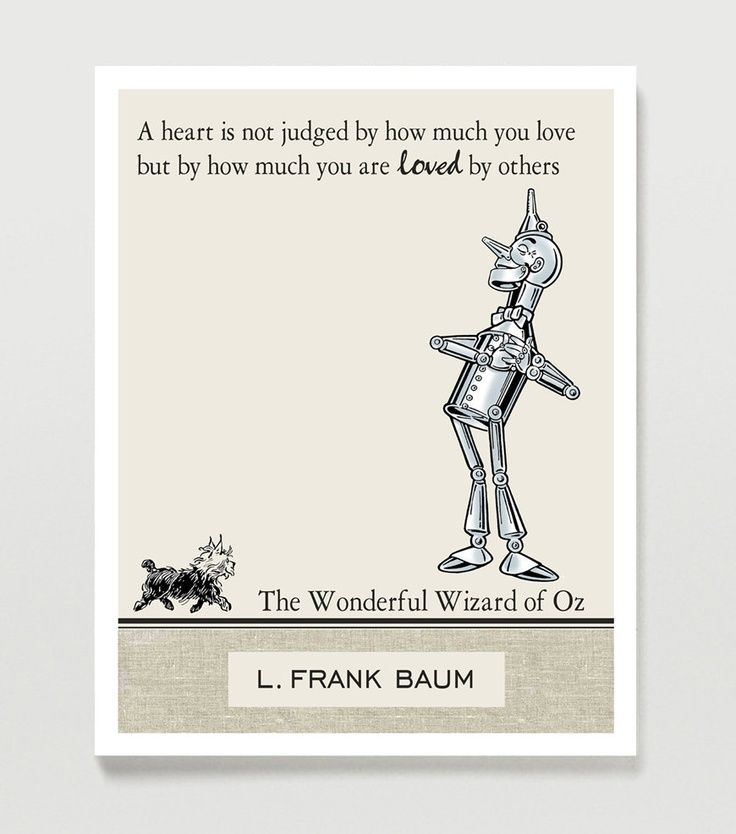 Wizard Of Oz Love Quotes Glamorous Wizard Of Oz Quote Poster  Inspirational Quote  The Tin Man