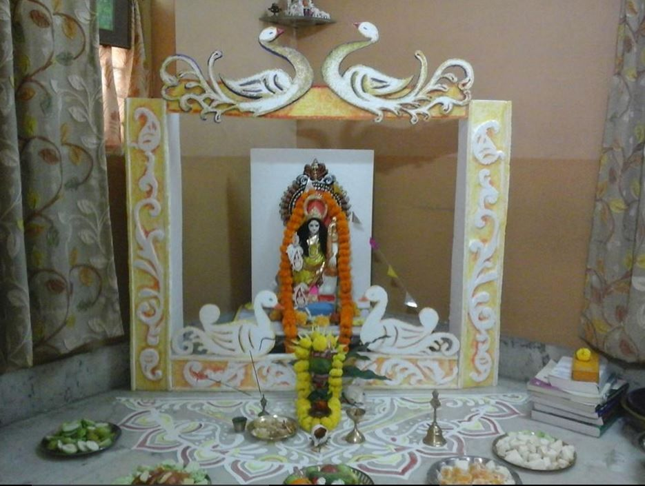 Saraswati Puja Decoration Saraswati Pooja Pooja Rooms Decor