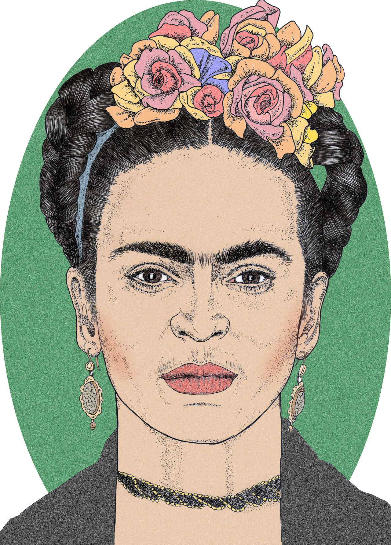 girl with braids flowers in her hair in hungarian inspired by frida kahlo easy coloring book for adults children retirees everyone by artist grace divine hungarian edition